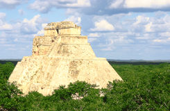 Maya pyramid at Uxmal. Antique mayan ruins in Mexico over green forest Royalty Free Stock Image