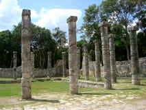 Maya pyramide culture in Mexico Chitzen Itza. Yucatan sculptures historia and mexican travel stock photo