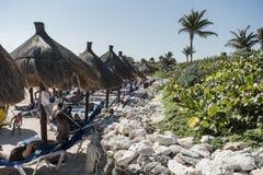 Maya Riviera Beach Stockfotos