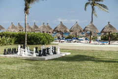 Maya Riviera Beach. A picturesque view of the tropical beach in Maya Riviera, Mexico. Hotel resort Grand Bahia Principe Stock Photo