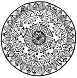 Maya Round Mandala klotter för yoga och meditation Arkivbild