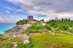 Maya ruïnes op het Caraïbische Strand royalty-vrije stock foto