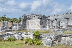 Maya ruïnes van Tulum stock foto