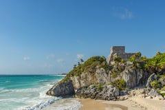 Maya Ruin di Tulum, penisola dell'Yucatan, Messico fotografia stock libera da diritti