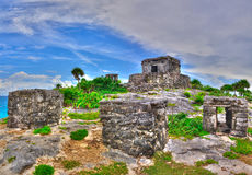 Maya ruins on the Caribbean Beach, Mexico Stock Photo