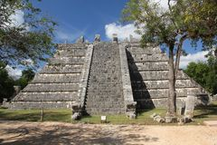 Maya ruins at Chichen Itza, Mexico. Chichen Itza was a large pre-Columbian city built by the Maya people of the Terminal Classic period. The archaeological site stock photography