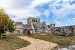 Maya ruins in Tulum, Mexico stock photography