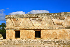 Maya ruins, Uxmal, Yucatan, Mexico. Part of the ruins of Uxmal called Nunnery Quadrangle with typical Puuc Style Relief Stock Image