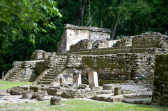 Maya ruinsite topoxte - guatemala. The ancient ruins are situated on a small island, the isle of topoxte, in lake yaxha Stock Photo