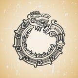 Maya snake Quetzalcoatl ouroboros vector illustration