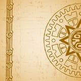 Maya sun half. Abstract stylized maya sun symbol on beige background royalty free illustration