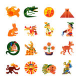 Maya Symbols Flat Icons Set Stock Photos
