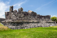 Maya Temple Facade in Tulum Mexico Stock Photo