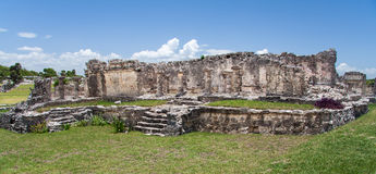 Maya Temple Facade in Tulum Mexico Stock Photos