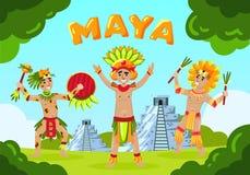 Maya Tribe Landscape Background ilustração royalty free