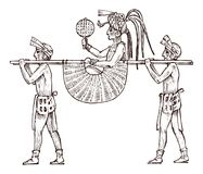 Maya Vintage-Art Aztekische Kultur Verunreinigen Sie Fahrzeug oder palanquin für den Transport von Personen im traditionellen Kos lizenzfreie abbildung
