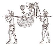 Maya Vintage stil Aztec kultur Skräpa ner medlet eller palanquin för transporten av personer i traditionell dräkt royaltyfri illustrationer