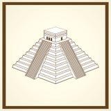 Maya ziggurat prentbriefkaar Royalty-vrije Stock Afbeeldingen