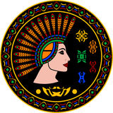 Mayafrau und Hieroglyphen vektor abbildung