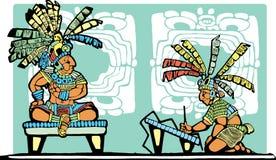Mayakönig und Schreiber Stockbild