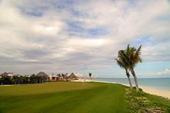 Mayakoba Country Club Golf Course Mexico. Mayakoba Golf Course green on the water in Mexico Stock Images