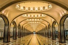 Mayakovskaya地铁在莫斯科,俄罗斯 免版税图库摄影
