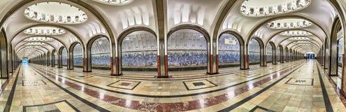 Mayakovskaya地铁车站全景在莫斯科 免版税库存图片