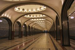 Mayakovskaya metro station in Moscow Russia Stock Photos