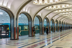 Mayakovskaya-Station in Moskau Stockbild
