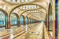Mayakovskaya subway station in Moscow, Russia. MOSCOW - AUGUST 22, 2016: Mayakovskaya subway station in Moscow, Russia. A fine example of Stalinist architecture Royalty Free Stock Photo
