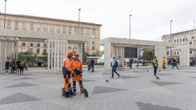 Mayakovsky-Quadrat in Moskau, Russland Stockbild