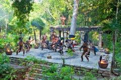 Mayaleistung im Dschungel von Mexiko Stockfotos