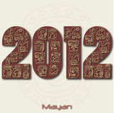 Mayan 2012. Image of the year 2012 with Mayan ruins isolated on a white background Royalty Free Illustration