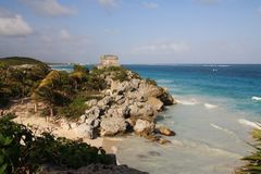 Mayan ancient ruins in Tulum. In Tulum on the one of the hills you can find ancient ruins and great panorama of Caribbean Sea stock images