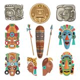 Mayan antique symbols and pictures stock illustration
