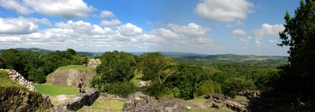 Mayan Archaeological Site. The panoramic view of Xunantunich (Stone Lady) - Mayan archaeological site in the middle of Belize jungle Royalty Free Stock Photo
