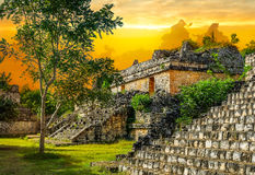 Mayan Archeologische Plaats van Ekbalam Oude Maya Pyramids, Tempel Stock Foto
