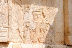 Mayan Art. Mayan carvings on the walls of a temple Stock Image