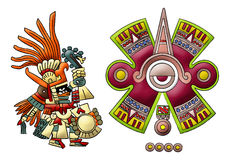 Mayan- Aztec Deity - Huitzilopochtli. Mayan deities illustration, isolated on white Stock Images