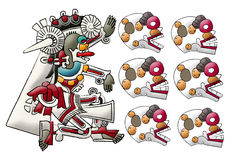 Mayan- Aztec deity Mictlan - lord of underword. Mayan deities illustration, isolated on white Royalty Free Stock Photography