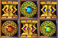 Mayan - Aztec illustration. Aztec styled colorful gold icons for game design Royalty Free Stock Photography