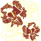 Mayan and aztec warriors Royalty Free Stock Images
