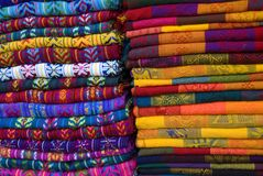 Mayan Blankets 5. Mayan colorful blankets in a outdoor market in Chiapas, Mexico stock photos