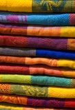 Mayan Blankets 6. Mayan colorful blankets for sale at an outdoor market in chiapas, mexico Royalty Free Stock Images