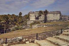 Mayan bouw op de heuvel stock fotografie