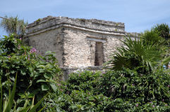 Mayan Building In Tulum, Mexico. Building on hillside at Mayan ruins in Tulum, Mexico Stock Photos