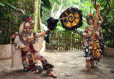 Mayan Butterfly Dancers. A man and a woman dance in a Mayan Butterfly Celebration at the Dallas World Aquarium in Dallas, Texas Stock Image