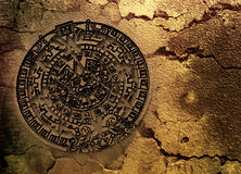 Mayan calander. A conceptual 3d render of the Mayan calander as if etched out of gold. Copy space Stock Image
