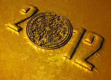 Mayan calander. A conceptual 3d render of the Mayan calander as if etched out of gold. Copy space Royalty Free Stock Image