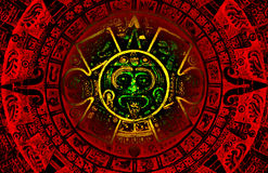 Mayan calendar. The red and green Mayan calendar predicting apocalypse on the year 2012 stock illustration